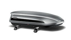 Ski and luggage box, platinum grey with brilliant black side blade, 360 l.  Also available in gloss black.