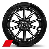 Audi Sport cast alloy wheels, 10-spoke star style, Black, diamond-turned, 9.5J x 21 with 285/40 R21 tires