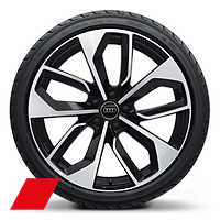 RS 5-double-spoke edge style, Glossy Black, diamond- turned, 9J x 20, 275/30 R20 tires