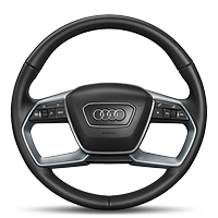 Leather-wrapped multi-function steering wheel