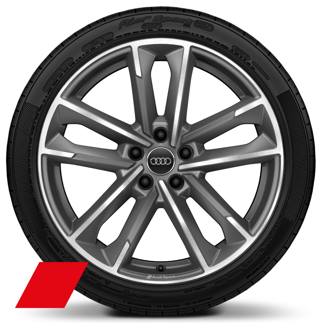"19"" x 8.5J '5-twin arm' design alloy wheels, matt titanium look, gloss turned finish with 255/35 tyres"