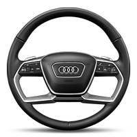 Leather-wrapped multifunction steering wheel for airbag system