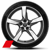 Audi Sport cast alloy wheels, 5-arm polygon style, Matte Titan. Look, diam.- turn., 9J x 19, 255/45 R19 tires