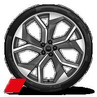 "23"" Audi Sport 5-Y-spoke rotor design matte titanium wheels"