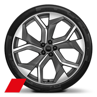 Cast alloy wheels, 5-Y-spoke rotor style, Matte Titanium Look, diamond- turned, 10.5J x 23, 295/35 R23 tires