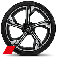 Forged alloy wheels, 5-arm flag style, Glossy Anthracite Black, diam.-turned, 9J x 20 with 275/30 R20 tires