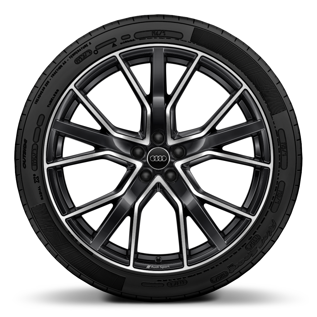 "22"" x 10.0J '5-V-spoke star' design, in gloss anthracite black, alloy wheels with 285/40 R22 tyres"