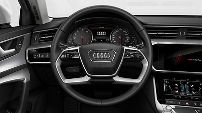 Leather-wrapped multi-function steering wheel, double-spoke, with shift paddles