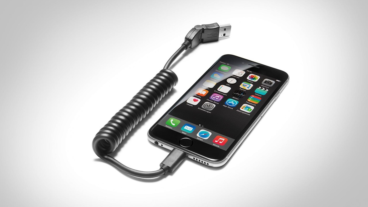 USB adapter cable, for mobile devices with an Apple Lightning port, straight