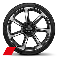 "20""  Audi Sport  alloy wheels in 7-spoke rotor design, gloss anthracite black, gloss turned finish, with 255/30 tyres"