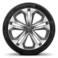 "22"" x 10.0J '5-parallel-spoke'  design alloy wheels, in contrasting grey with gloss turned finish, with 285/40 R 22 tyres"
