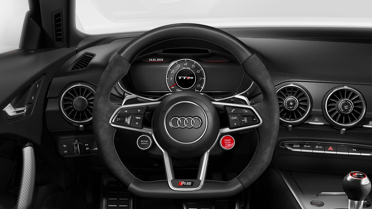 Leather-wrapped multifunction sports steering wheel