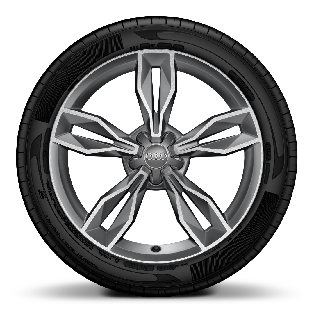 Cast alum. alloy wheels, 5-arm facet des. (S design), contrast. grey, partly pol., 7.5J x 18 w. 225/35 R18 tyres