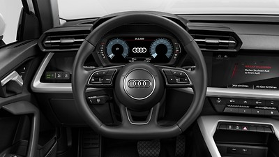 3-spoke leather multi-function flat bottom steering wheel and shift paddles