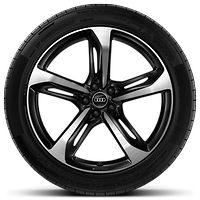 Audi Sport cast alloy wheels, 5-spoke blade style, Glossy Black, 9J x 21 with 285/40 R21 tires