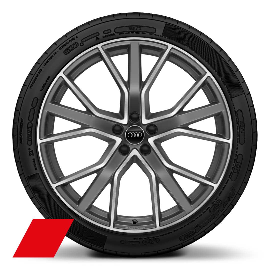"22"" x 10.0J '5-V-spoke aluminium star' design Audi Sport alloy wheels in matt titanium with gloss-turned finish with 285/35 R22 tyres"