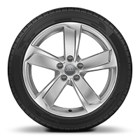Cast alloy wheels, 5-arm dynamic style, partly polished, 8J x 18 with 225/40 R18 tires