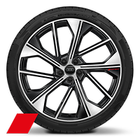 "21"" Audi Sport alloy wheels in 5-V-spoke offset design, gloss anthracite black, partly polished with 255/40 tyres"