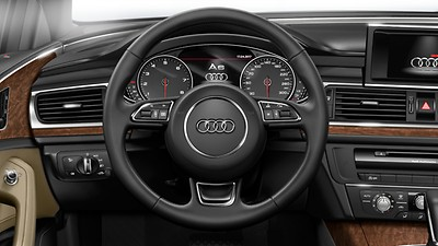 3-spoke leather trimmed multi-function steering wheel