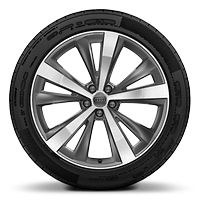 "21"" x 10.0J '5-arm star' design alloy wheels, in contrasting grey with gloss turned finish, with 285/45 R21 tyres"
