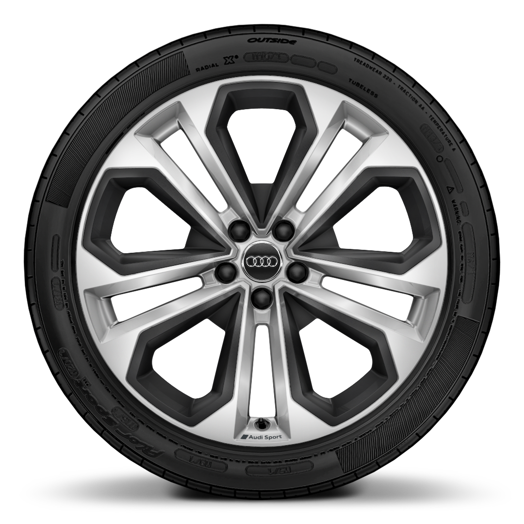 "20"" x 8.5J '5-twin-spoke module' design Audi Sport alloy wheels with inserts in structured grey, matt, with 255/40 R 20 tyres"