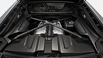 Engine cover in glossy carbon