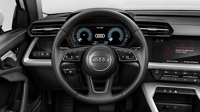 Leather steering wheel in 3-spoke design with multifunction plus