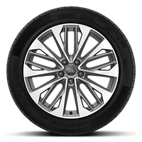 Cast alloy wheels, 5-double-spoke V-style, Contrast Grey , partly polished, 8J x 19 with 235/40 R19 tires