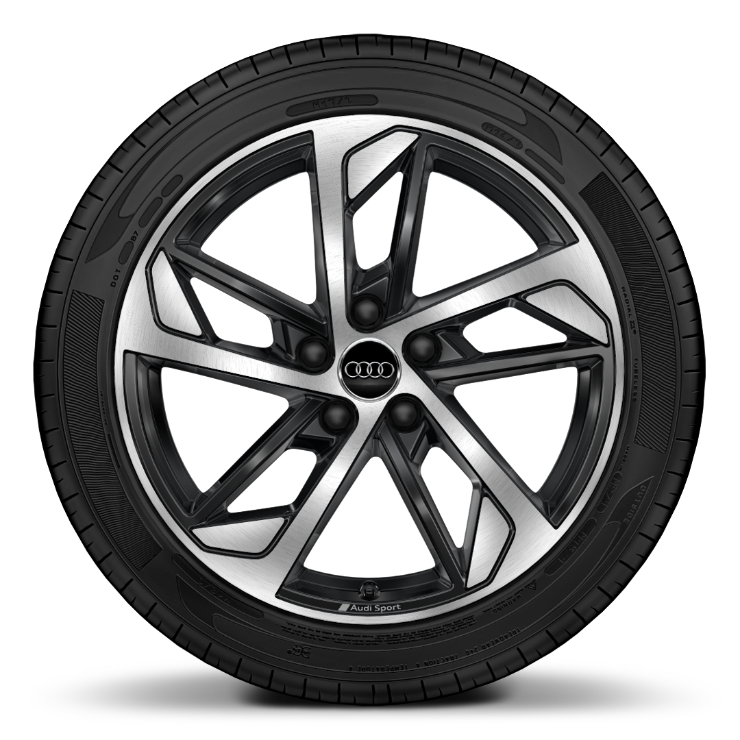 "18"" x 7.5J '5-arm trapezoid' design Audi Sport alloy wheels in gloss anthracite black, diamond cut finish with 225/40 R 18 tyres"