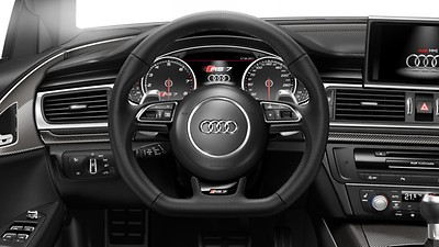 Leather-covered, flat-bottomed, 3-spoke multifunction sport steering wheel with paddle shifting