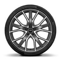 Audi Sport cast alloy wheels, 5-V-spoke star style, Matte Titanium Look, diam.- turned, 8.5J x 20 w/ 255/40 R20 tires