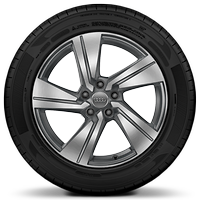 Cast alloy wheels, 5-arm dynamic style, Contrast Gray, partly polished, 7J x 18 with 215/50 R18 tires