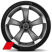 Alloy wheels, 5-arm rotor style, Matte Titanium Gray, diam.-turn.,9.0J x 20, 265/30 R20 tires, Audi Sport GmbH
