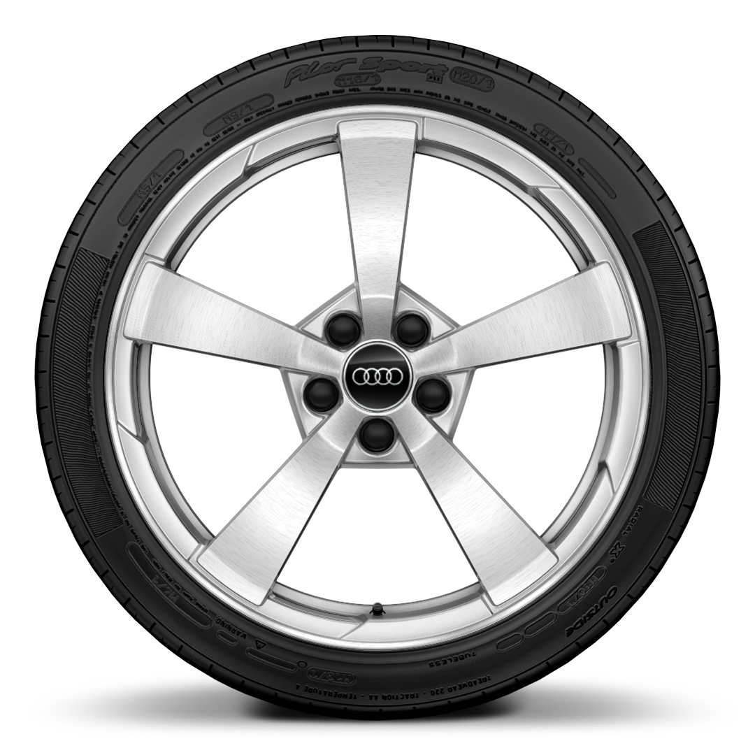 "19"" x 9J 5-spoke style, partly polished forged alloy wheel with 245/35 R19 tyres"