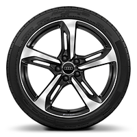 Audi Sport cast aluminium wheels in 5-spoke blade design in gloss black, gloss turned finish¹, ⁴