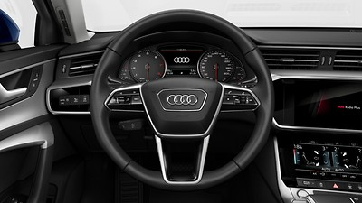 Leather-wrapped multifunction sports steering wheel with shift paddles