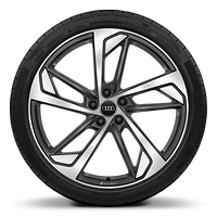 Audi Sport cast alloy wheels, 5-arm trapezoidal style, matte titanium look, diamond-turned, 8.5J x 21