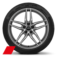 Alloy wheels, 5-double-spoke style, Matte Titanium Gray, diamond-turned, 8.5J|11.0Jx19, 245/35|295/35 R19 tires
