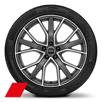 Audi Sport cast alloy wheels, 5-V-spoke star style, Matte Tit. Look, diamond- turned, 8.5J x 20 w/ 255/40 R20 tires