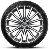 "19"" alloy wheels in multi-spoke design, contrasting grey, partly polished with 255/35 tyres"