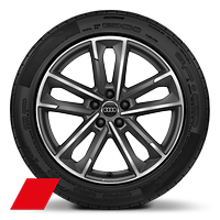 Audi Sport cast alloy wheels, 5-double- arm style, Matte Titanium Look, diam.- turned, 8.5J x 19 with 255/45 R19 tires