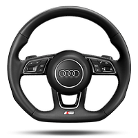 RS sports contour leather-wrapped steering wheel w/ multi-function Plus, 3-spoke, flat-bottomed