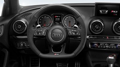 RS Flat-bottomed 3-spoke leather multi-function Sport steering wheel with alcantara inserts and gear-shift paddles in aluminium look, contrast stitching and RS badging