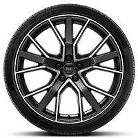 Audi Sport cast alloy wheels, 5-V-spoke star style, Glossy Anthracite Black, diamond-turned, 9J x 20