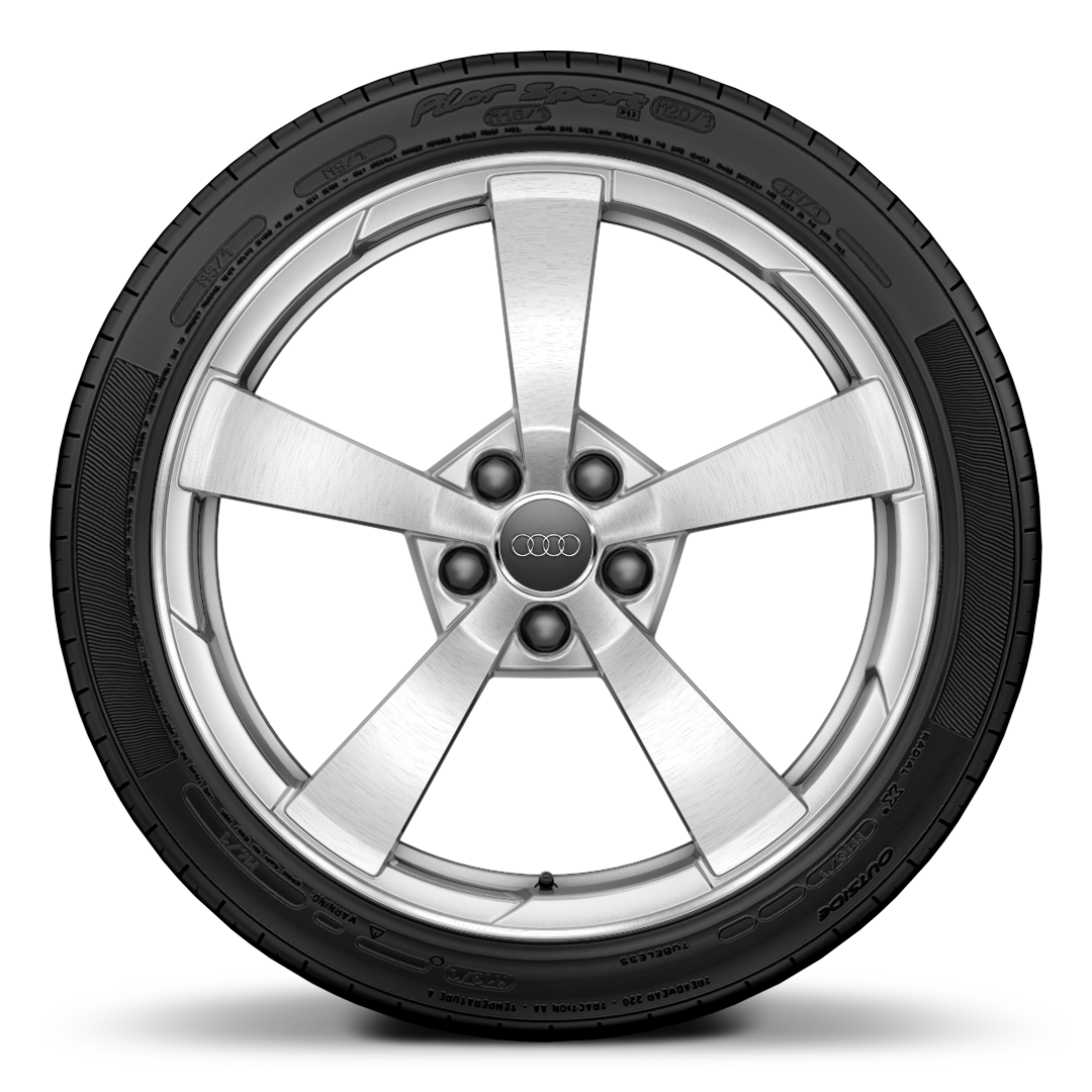 "19"" x 9J '5-spoke style' partly polished forged alloy wheel with 245/35 R19 tyres"