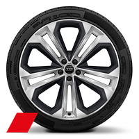 "22"" x 10J '5-twin-spoke' design Audi Sport alloy wheels,  gloss-turned finish with inserts in matt grey 285/40 R22 tyres"