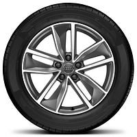 Cast aluminium wheels in 5-arm turbine design, contrasting grey, partly polished, size 7J x 18, 235/50 R18 tyres