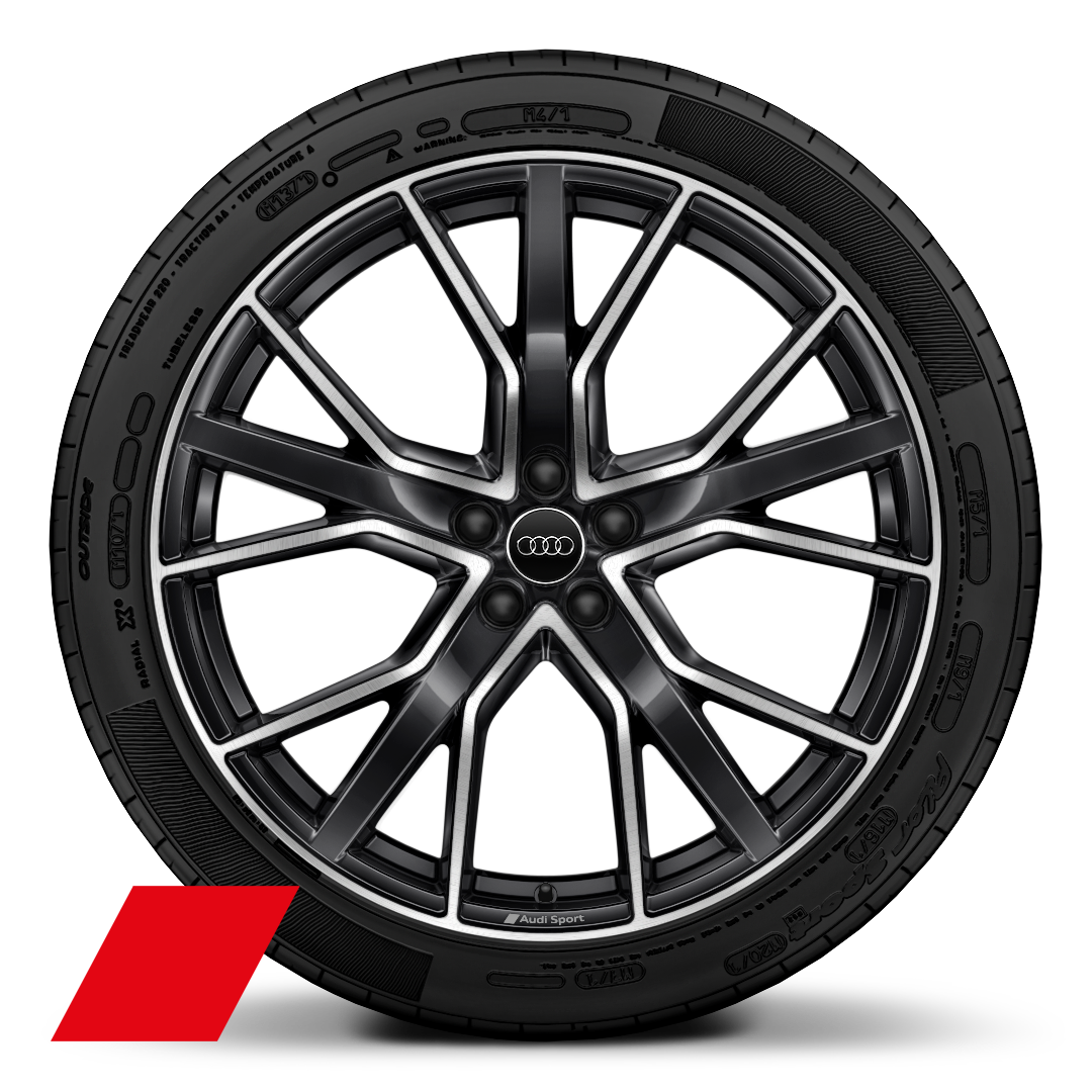 "22"" x 10.0J '5-V-spoke star' design Audi Sport wheels, in anthracite black with gloss turned finish, with 285/40 R22 tyres"