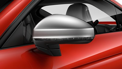 Exterior mirror housings in matt aluminium look