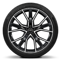 Audi Sport cast alloy wheels, 5-V-spoke star style, Glossy Anthracite Black, diamond-turned, 8.5J x 21